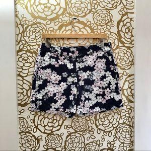 LOFT Ann Taylor Blue White Pink Floral Shorts